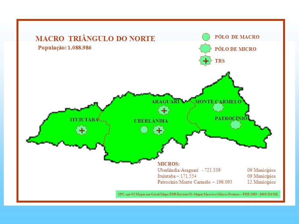+ + + + MACRO TRIÂNGULO DO NORTE População: 1.088.986 PÓLO DE MACRO