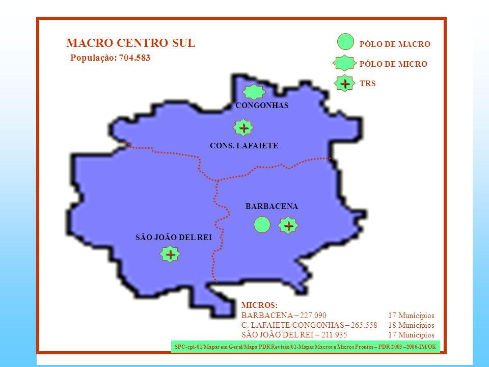 + + + + MACRO CENTRO SUL População: 704.583 PÓLO DE MACRO