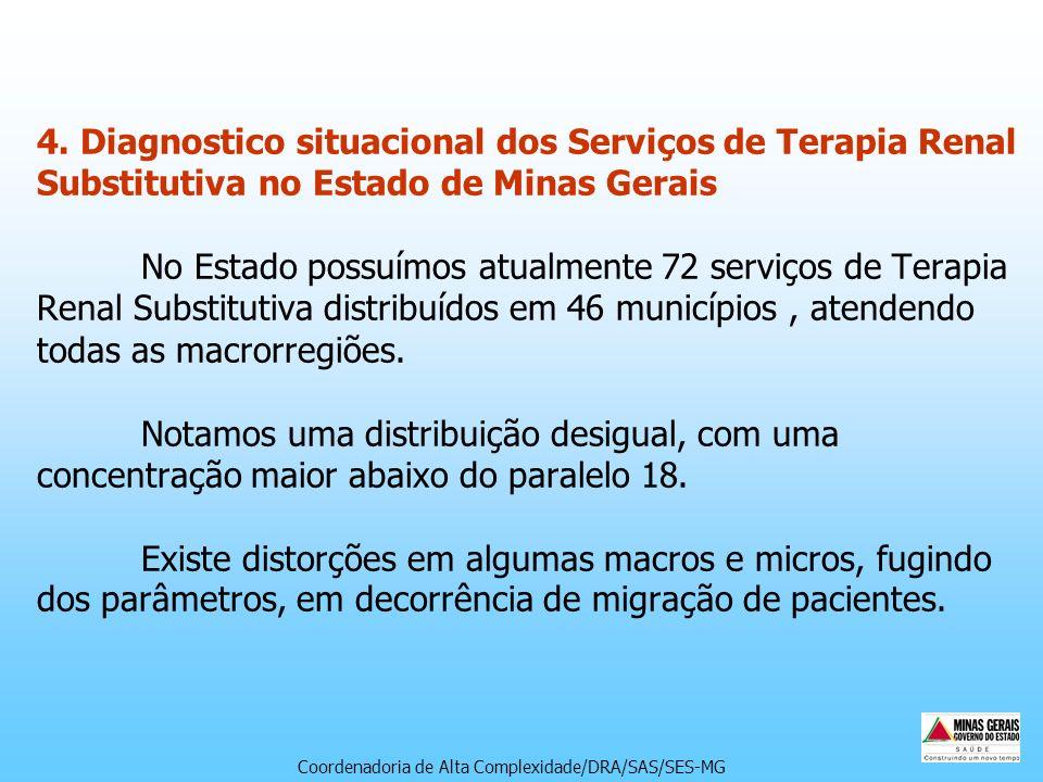 4. Diagnostico situacional dos Serviços de Terapia Renal Substitutiva no Estado de Minas Gerais No Estado possuímos atualmente 72 serviços de Terapia Renal Substitutiva distribuídos em 46 municípios , atendendo todas as macrorregiões. Notamos uma distribuição desigual, com uma concentração maior abaixo do paralelo 18. Existe distorções em algumas macros e micros, fugindo dos parâmetros, em decorrência de migração de pacientes.