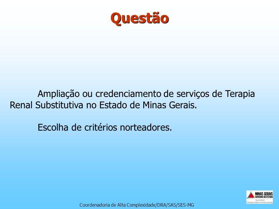 Questão Ampliação ou credenciamento de serviços de Terapia Renal Substitutiva no Estado de Minas Gerais. Escolha de critérios norteadores.