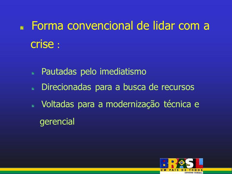 crise : Forma convencional de lidar com a Pautadas pelo imediatismo