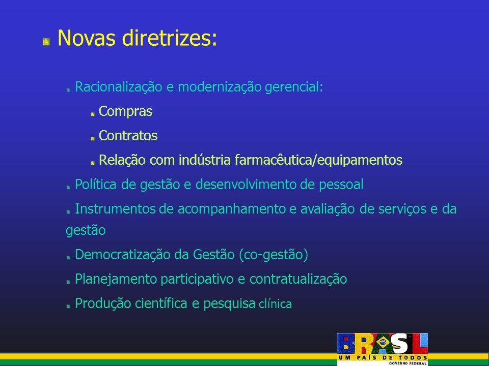 Novas diretrizes: Racionalização e modernização gerencial: Compras