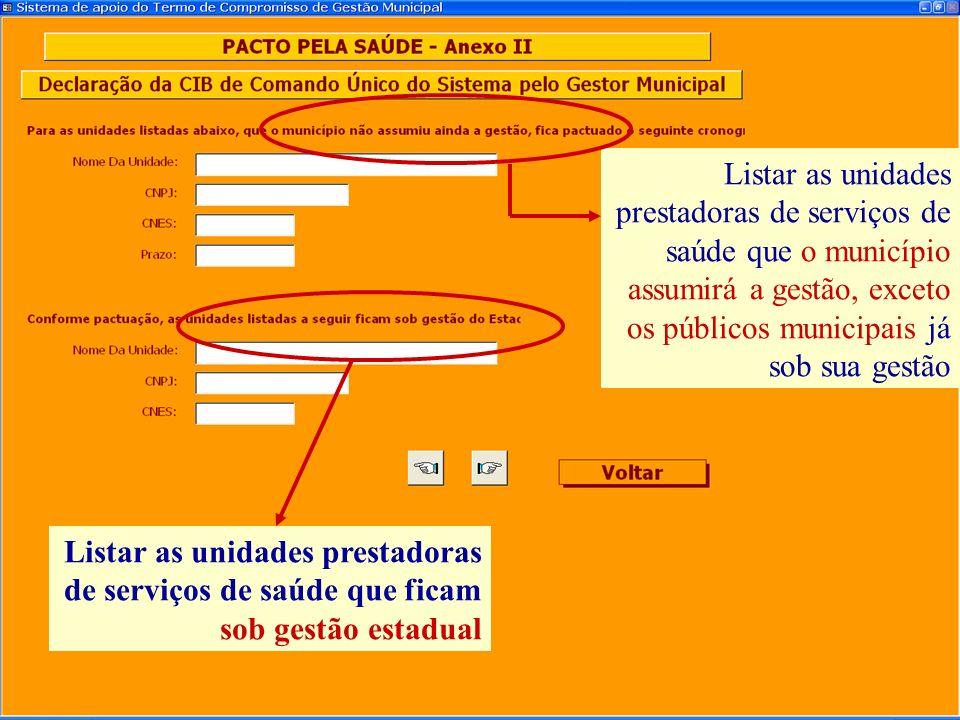 Listar as unidades prestadoras de serviços de saúde que o município assumirá a gestão, exceto os públicos municipais já sob sua gestão
