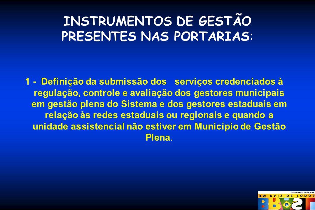 INSTRUMENTOS DE GESTÃO PRESENTES NAS PORTARIAS: