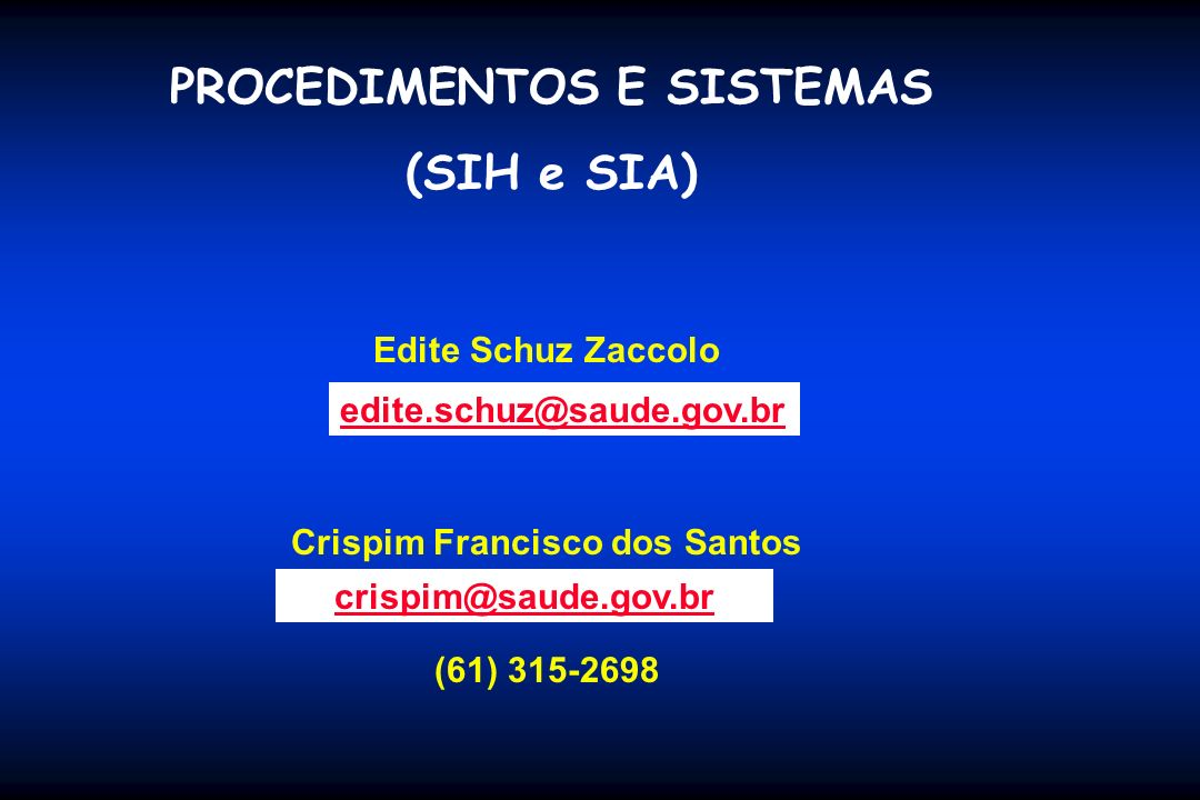 PROCEDIMENTOS E SISTEMAS Crispim Francisco dos Santos