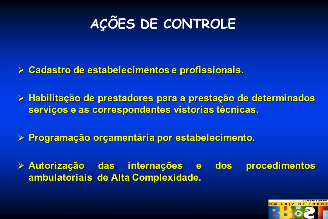 AÇÕES DE CONTROLE Cadastro de estabelecimentos e profissionais.
