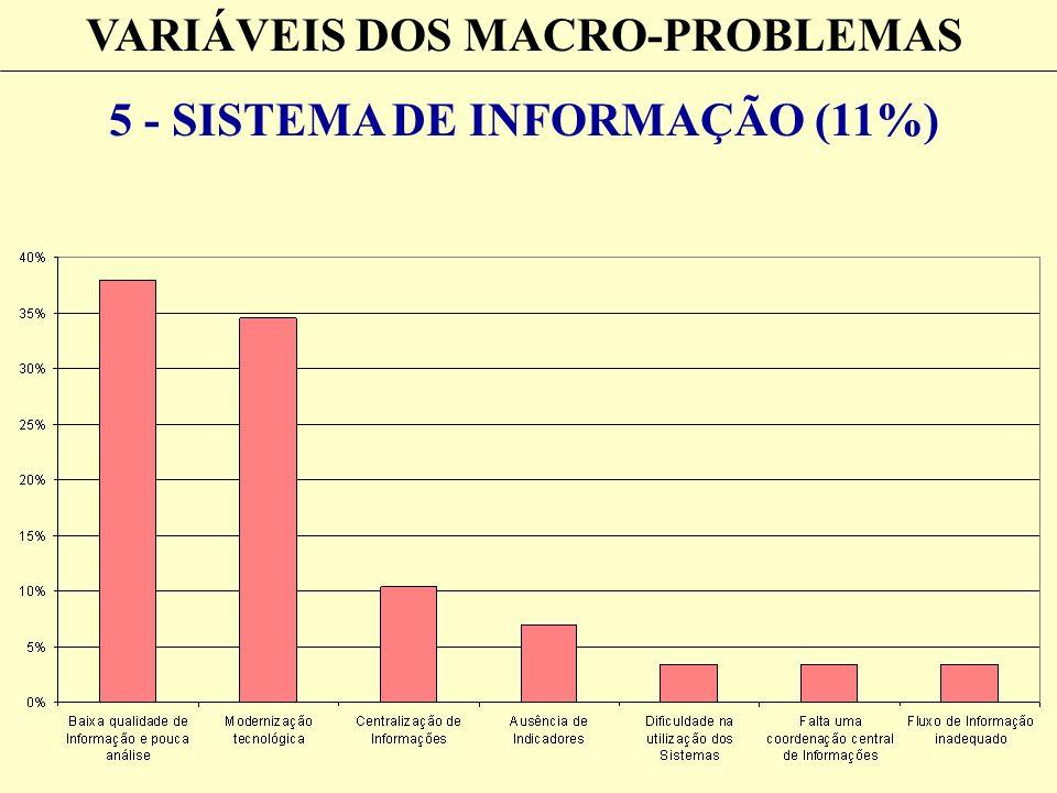 VARIÁVEIS DOS MACRO-PROBLEMAS 5 - SISTEMA DE INFORMAÇÃO (11%)