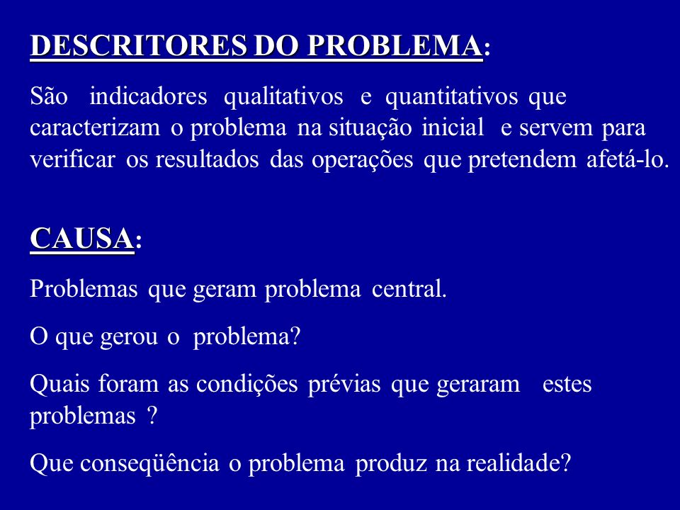 DESCRITORES DO PROBLEMA: