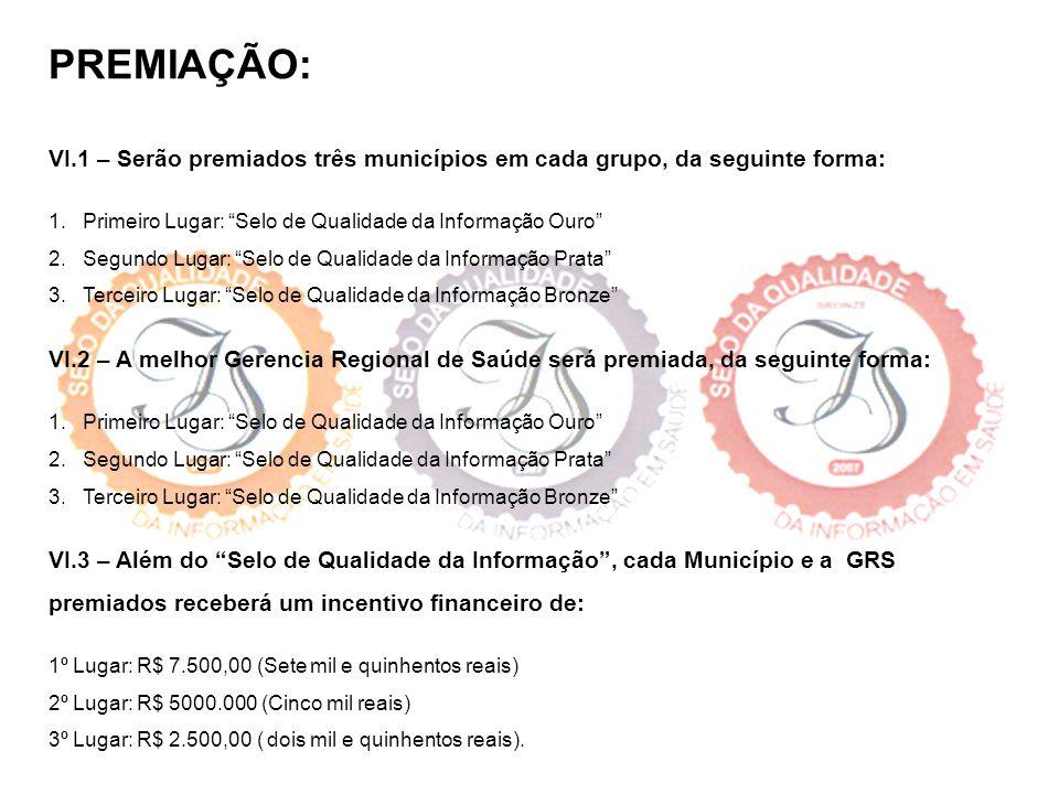 PREMIAÇÃO: VI.1 – Serão premiados três municípios em cada grupo, da seguinte forma: 1. Primeiro Lugar: Selo de Qualidade da Informação Ouro