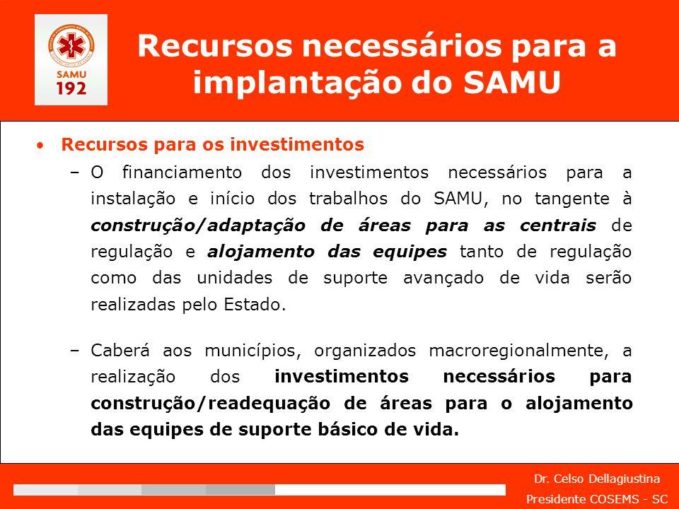 Recursos necessários para a implantação do SAMU