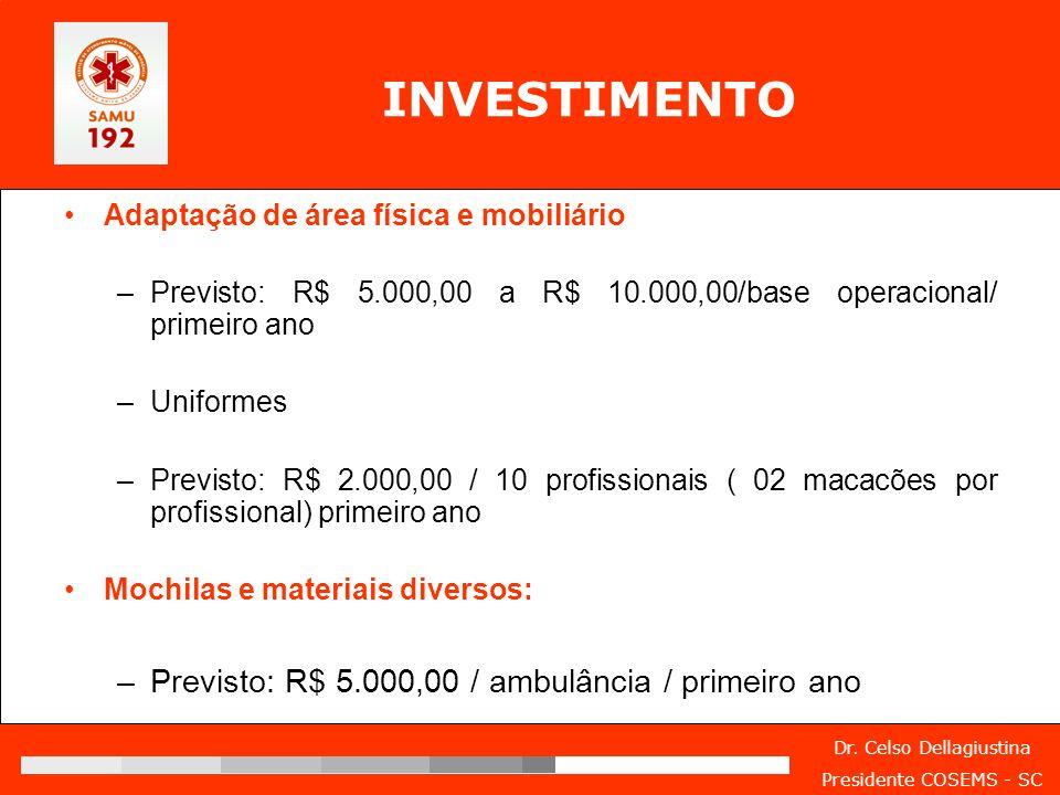 INVESTIMENTO Previsto: R$ 5.000,00 / ambulância / primeiro ano