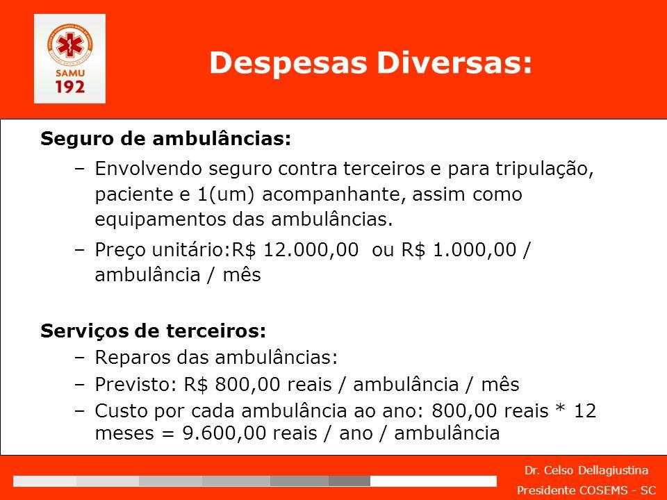 Despesas Diversas: Seguro de ambulâncias: