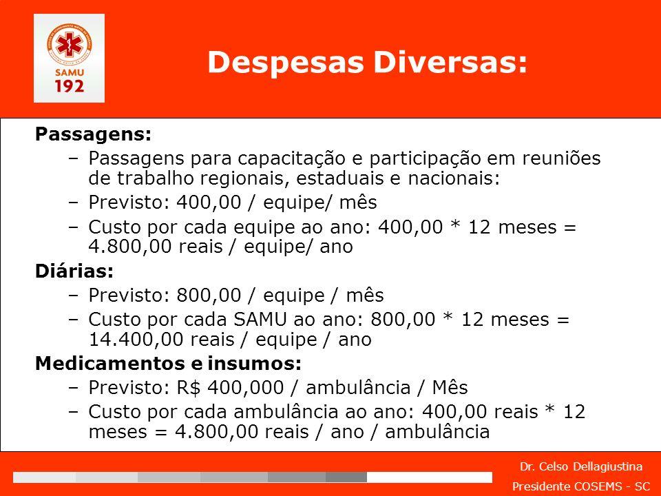 Despesas Diversas: Passagens:
