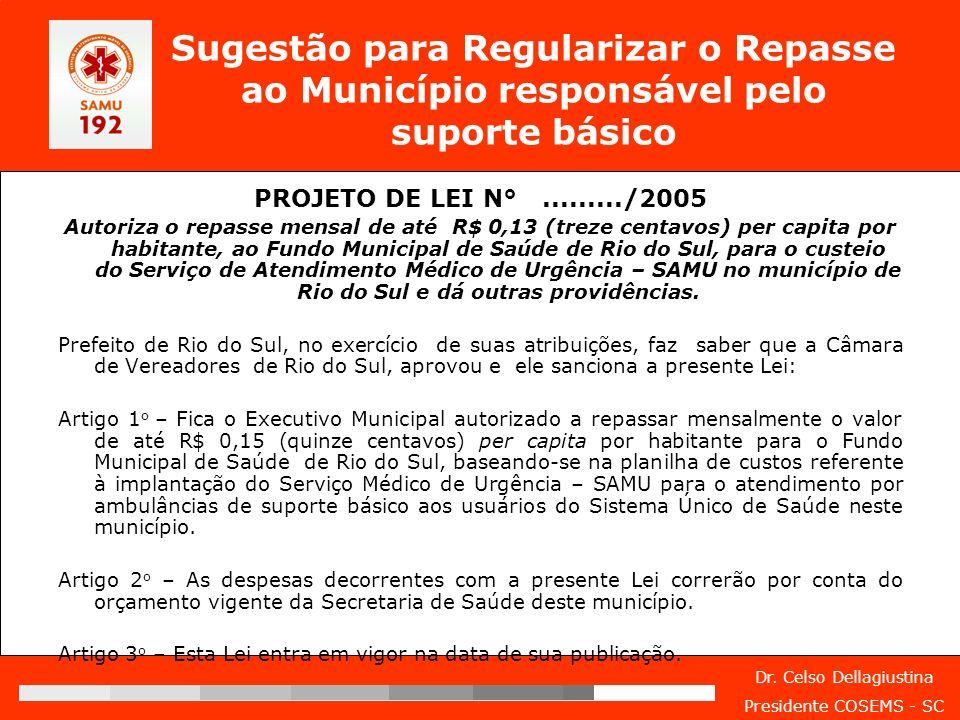 Sugestão para Regularizar o Repasse ao Município responsável pelo suporte básico