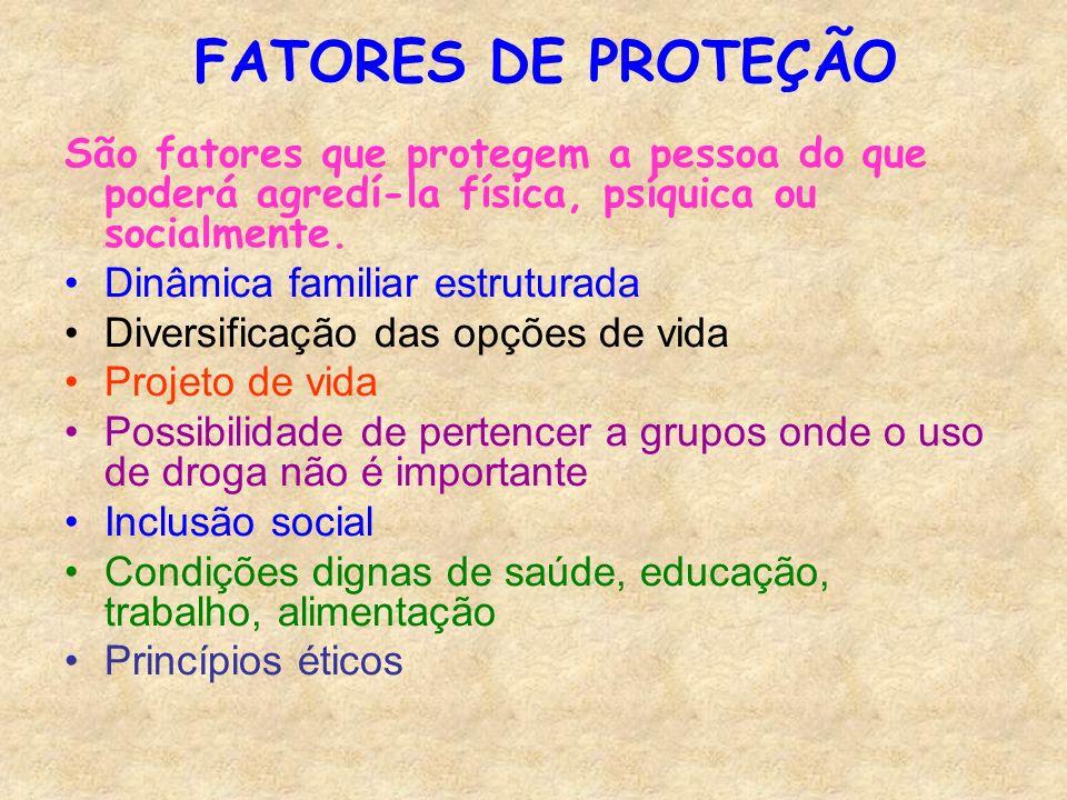 FATORES DE PROTEÇÃO São fatores que protegem a pessoa do que poderá agredí-la física, psíquica ou socialmente.