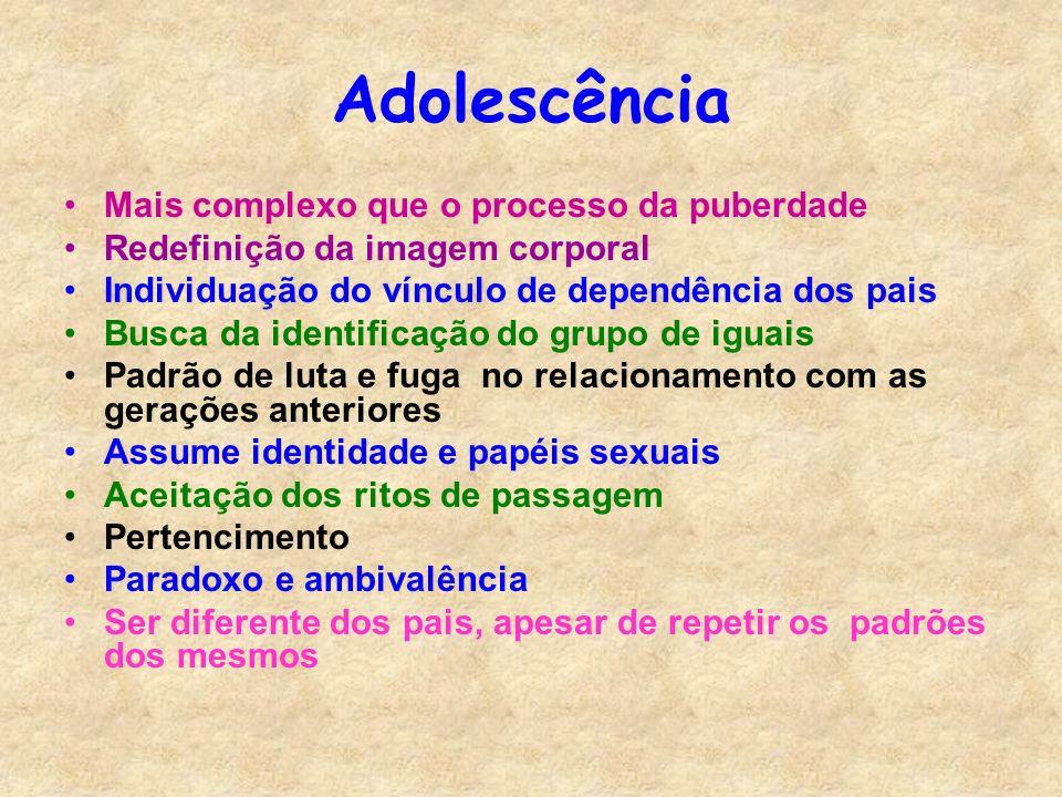Adolescência Mais complexo que o processo da puberdade