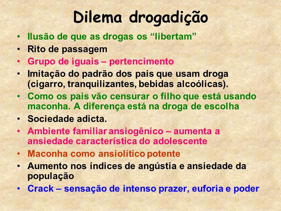Dilema drogadição Ilusão de que as drogas os libertam