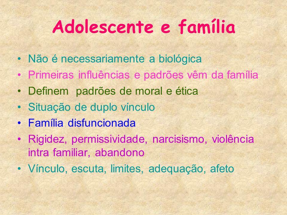 Adolescente e família Não é necessariamente a biológica