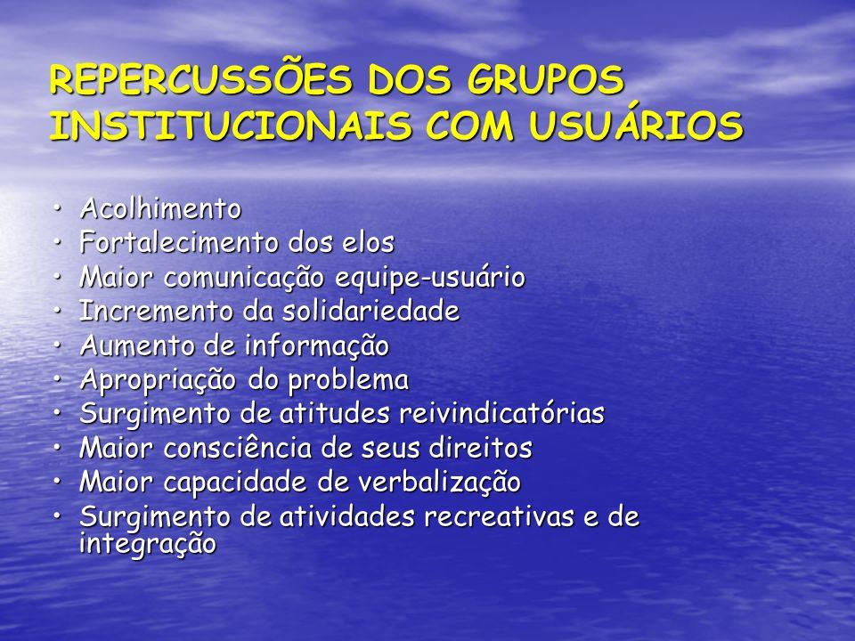 REPERCUSSÕES DOS GRUPOS INSTITUCIONAIS COM USUÁRIOS