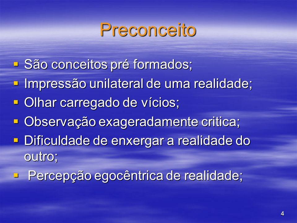 Preconceito São conceitos pré formados;
