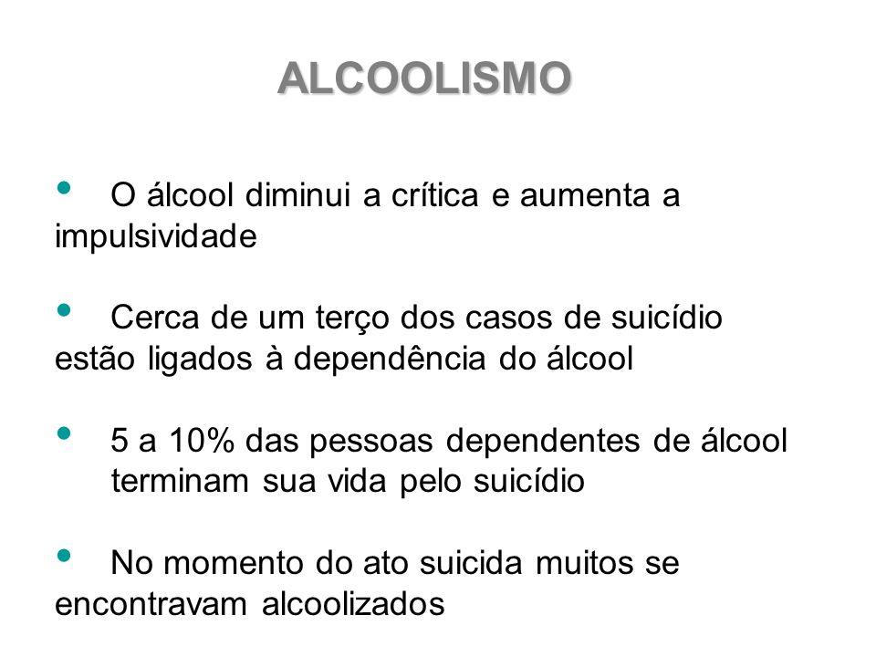 ALCOOLISMO O álcool diminui a crítica e aumenta a impulsividade