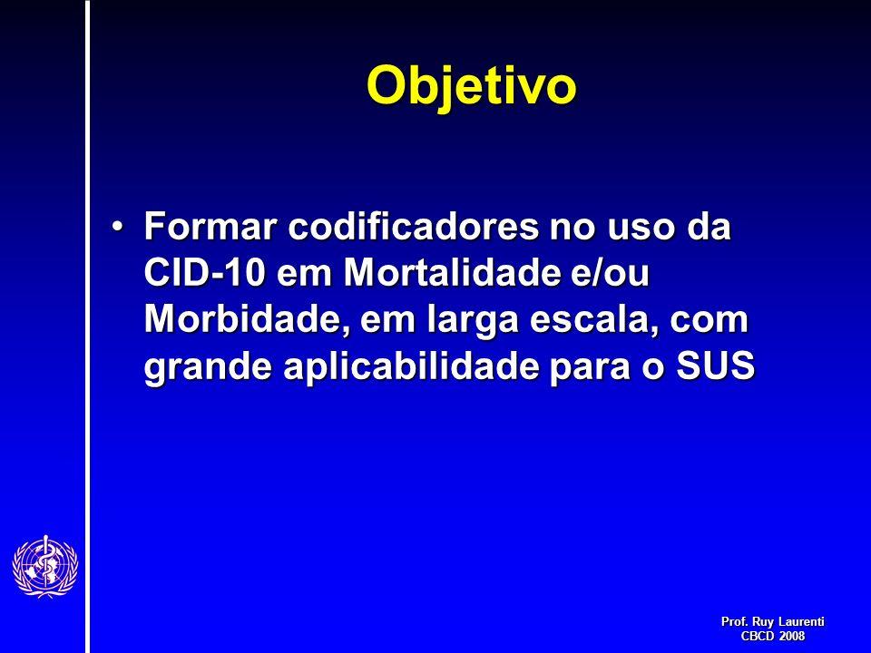 Objetivo Formar codificadores no uso da CID-10 em Mortalidade e/ou Morbidade, em larga escala, com grande aplicabilidade para o SUS.