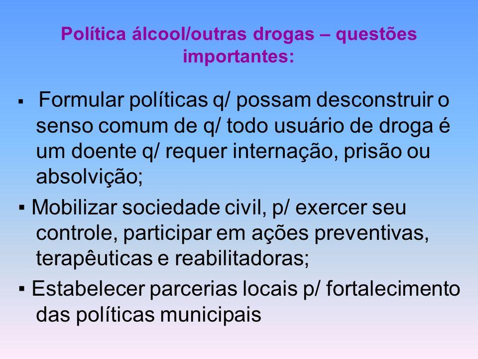 Política álcool/outras drogas – questões importantes: