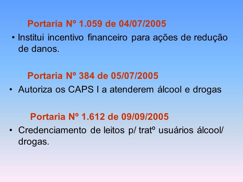 Portaria Nº 1.059 de 04/07/2005 • Institui incentivo financeiro para ações de redução de danos. Portaria Nº 384 de 05/07/2005.