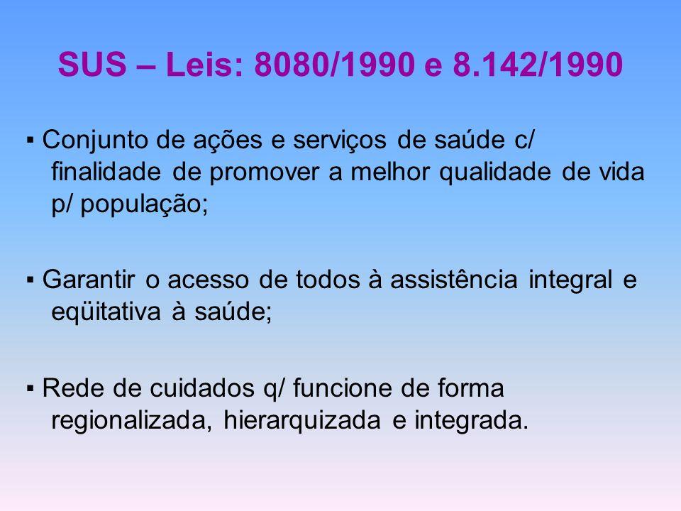 SUS – Leis: 8080/1990 e 8.142/1990 ▪ Conjunto de ações e serviços de saúde c/ finalidade de promover a melhor qualidade de vida p/ população;
