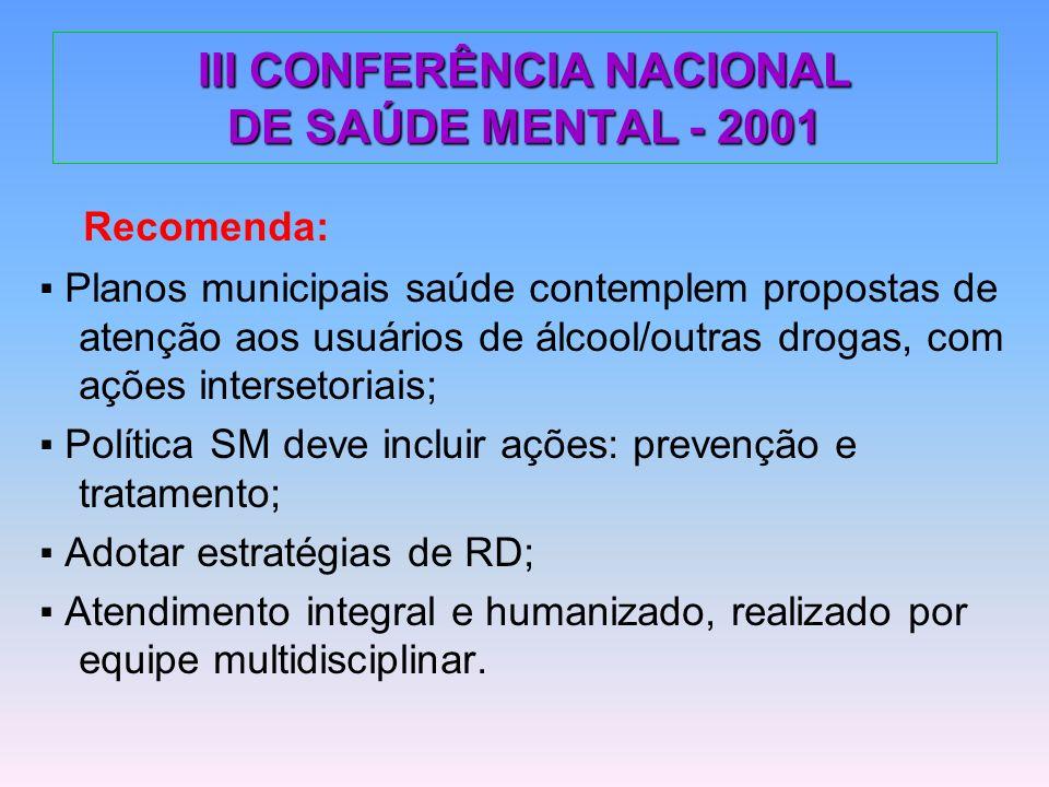 III CONFERÊNCIA NACIONAL DE SAÚDE MENTAL - 2001