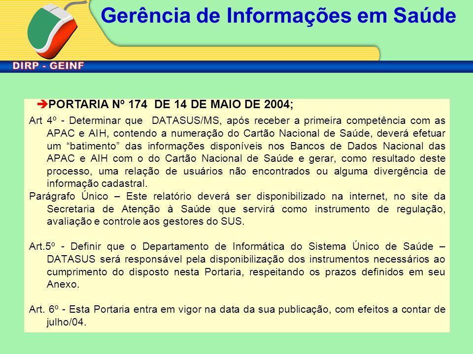 PORTARIA Nº 174 DE 14 DE MAIO DE 2004;