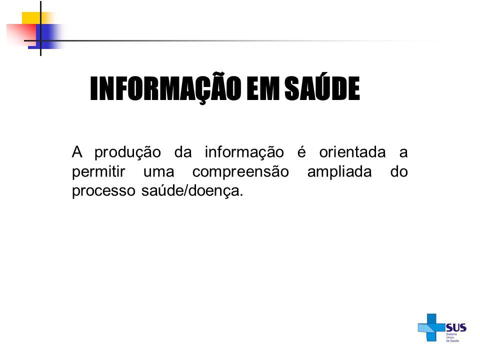 INFORMAÇÃO EM SAÚDEA produção da informação é orientada a permitir uma compreensão ampliada do processo saúde/doença.