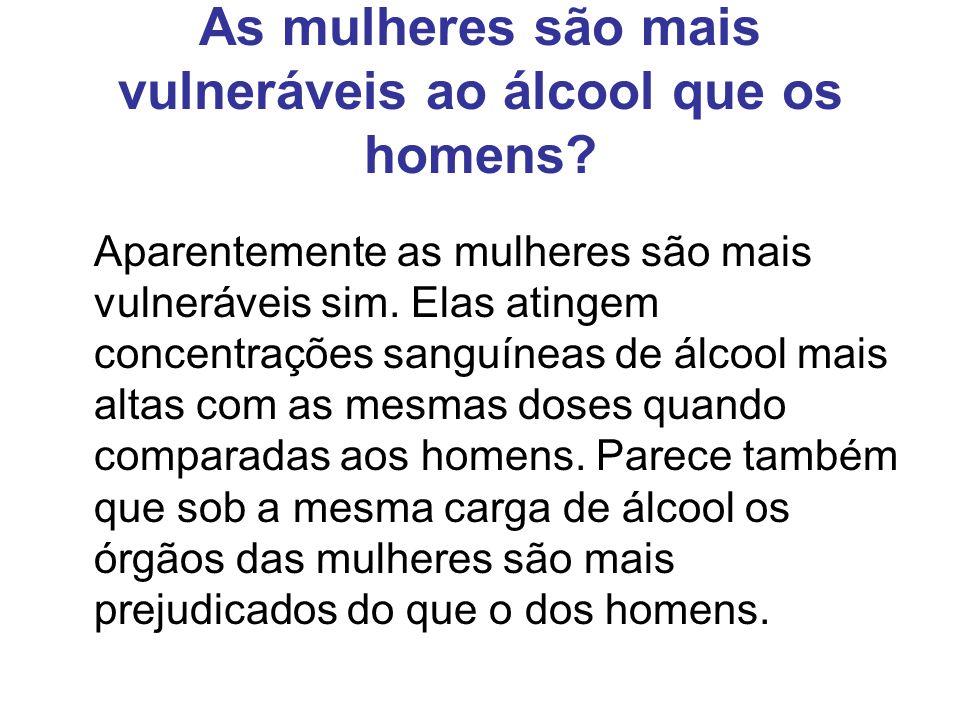 As mulheres são mais vulneráveis ao álcool que os homens