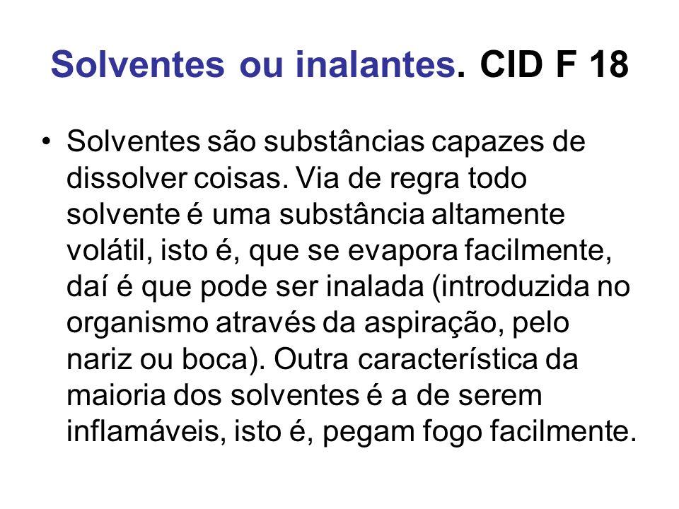 Solventes ou inalantes. CID F 18