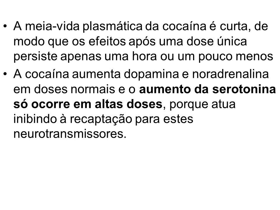 A meia-vida plasmática da cocaína é curta, de modo que os efeitos após uma dose única persiste apenas uma hora ou um pouco menos