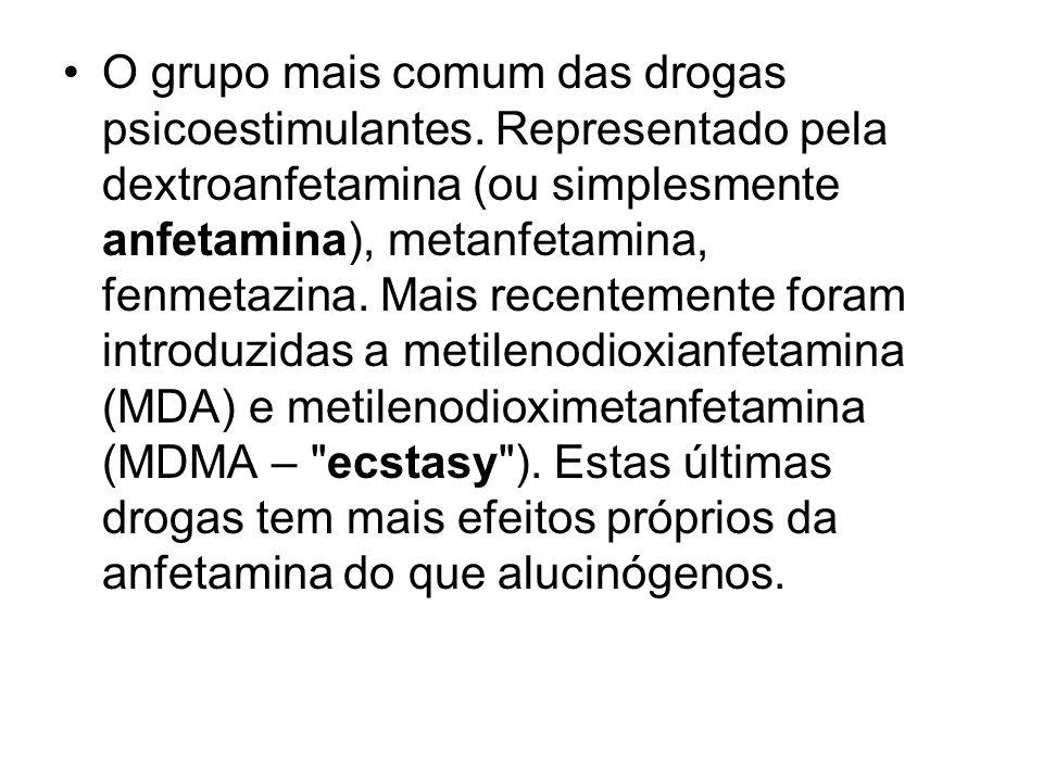 O grupo mais comum das drogas psicoestimulantes