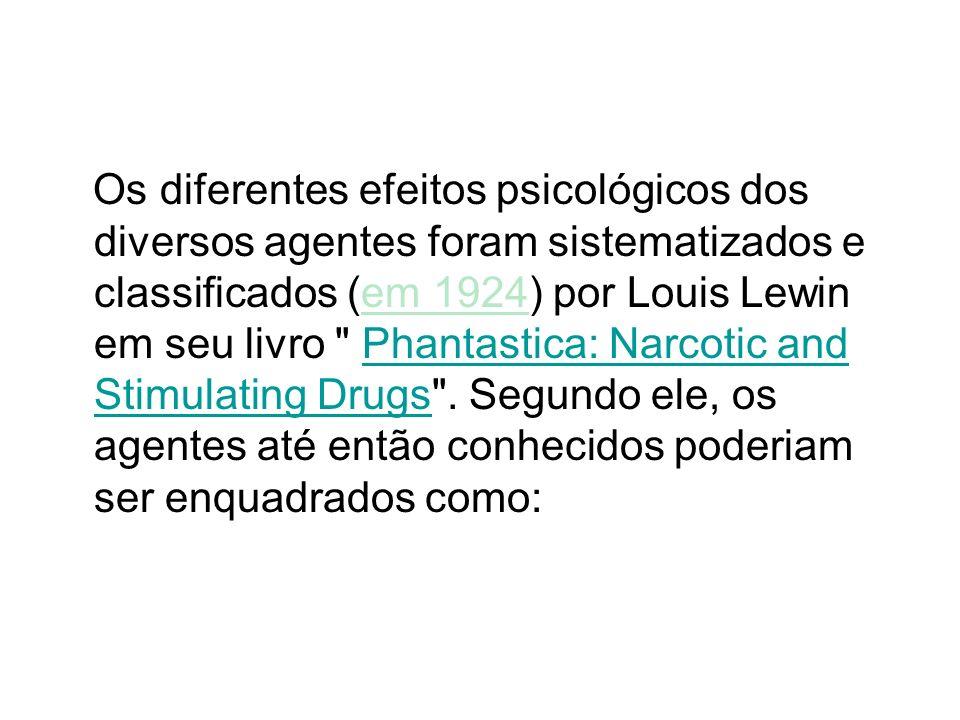 Os diferentes efeitos psicológicos dos diversos agentes foram sistematizados e classificados (em 1924) por Louis Lewin em seu livro Phantastica: Narcotic and Stimulating Drugs .