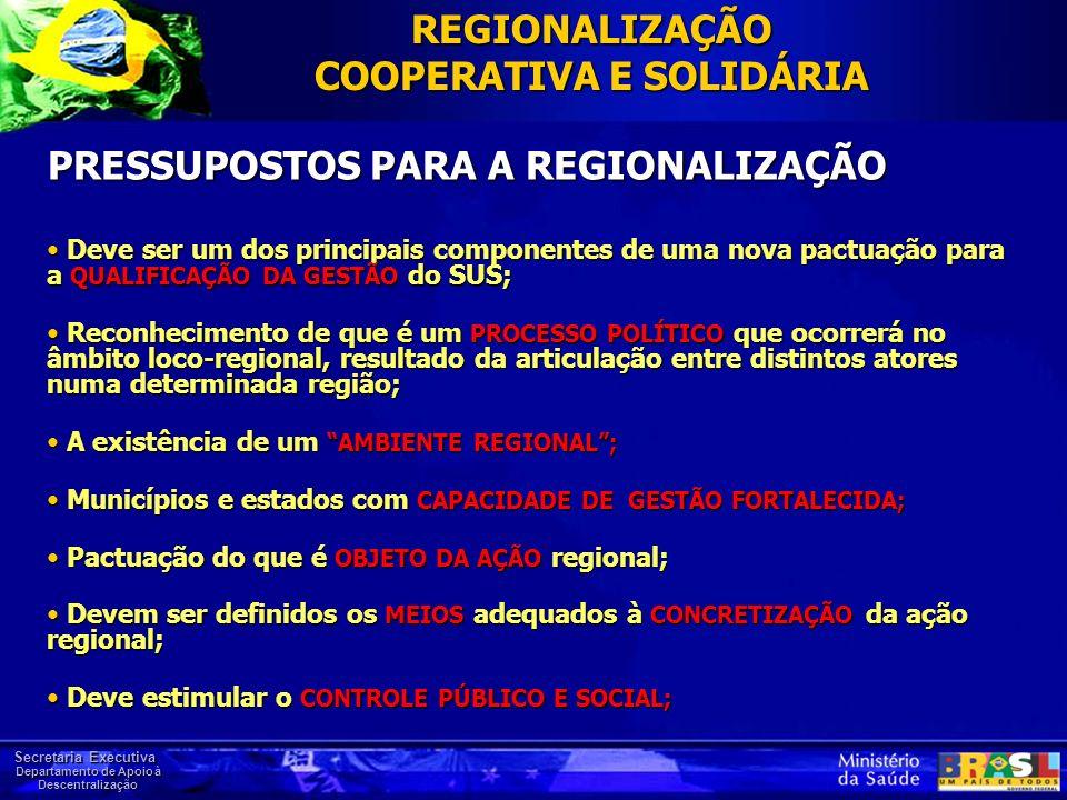 PRESSUPOSTOS PARA A REGIONALIZAÇÃO