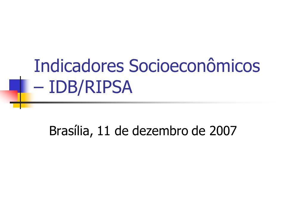 Indicadores Socioeconômicos – IDB/RIPSA