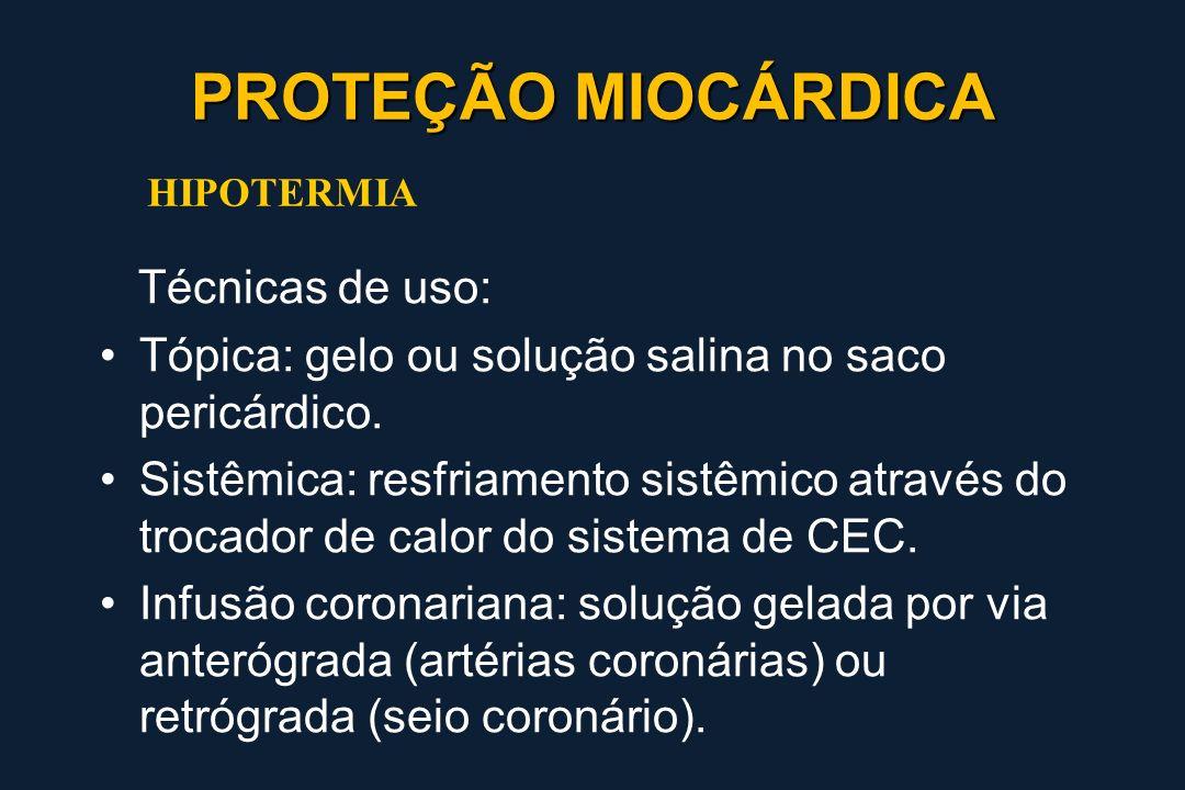 PROTEÇÃO MIOCÁRDICA Técnicas de uso: