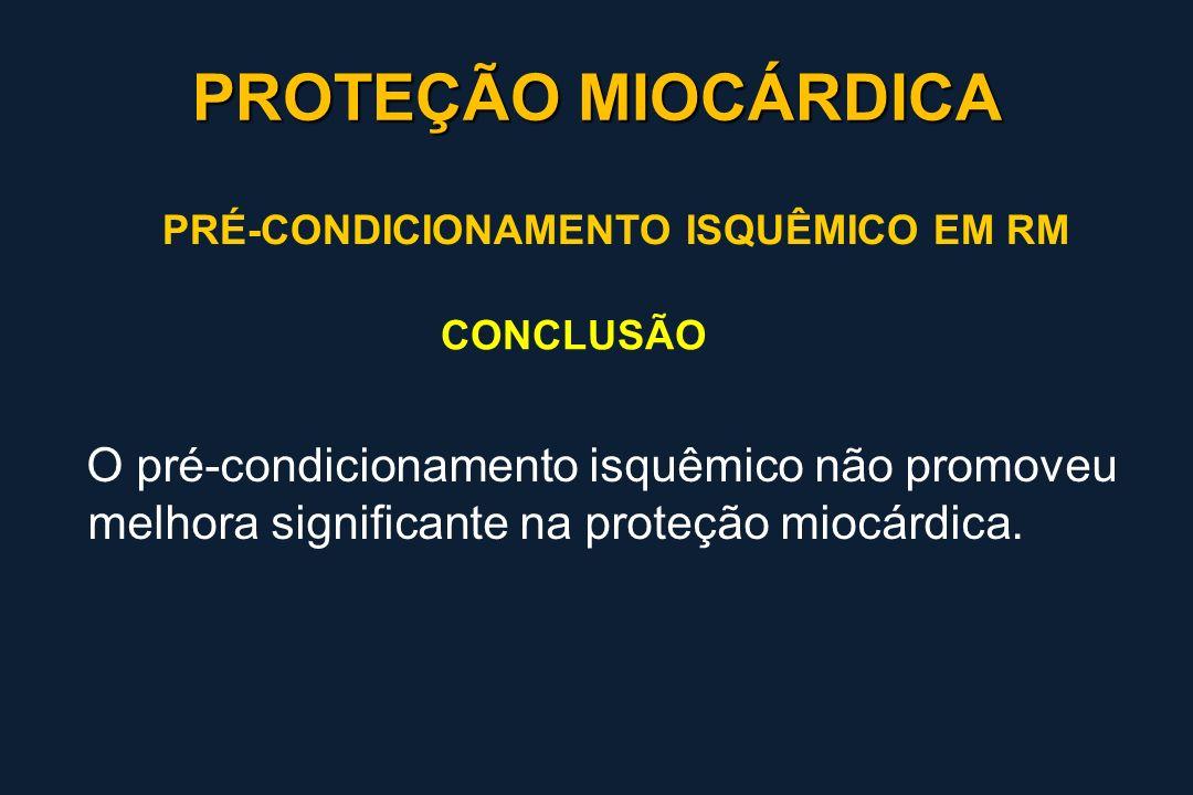 PROTEÇÃO MIOCÁRDICA PRÉ-CONDICIONAMENTO ISQUÊMICO EM RM. CONCLUSÃO.