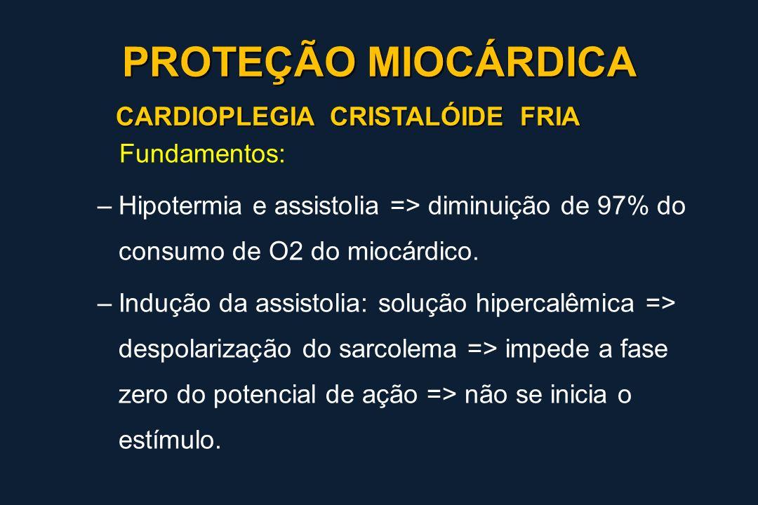 PROTEÇÃO MIOCÁRDICA CARDIOPLEGIA CRISTALÓIDE FRIA Fundamentos: