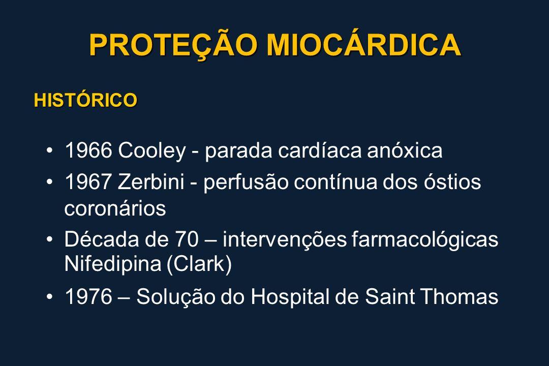 PROTEÇÃO MIOCÁRDICA 1966 Cooley - parada cardíaca anóxica
