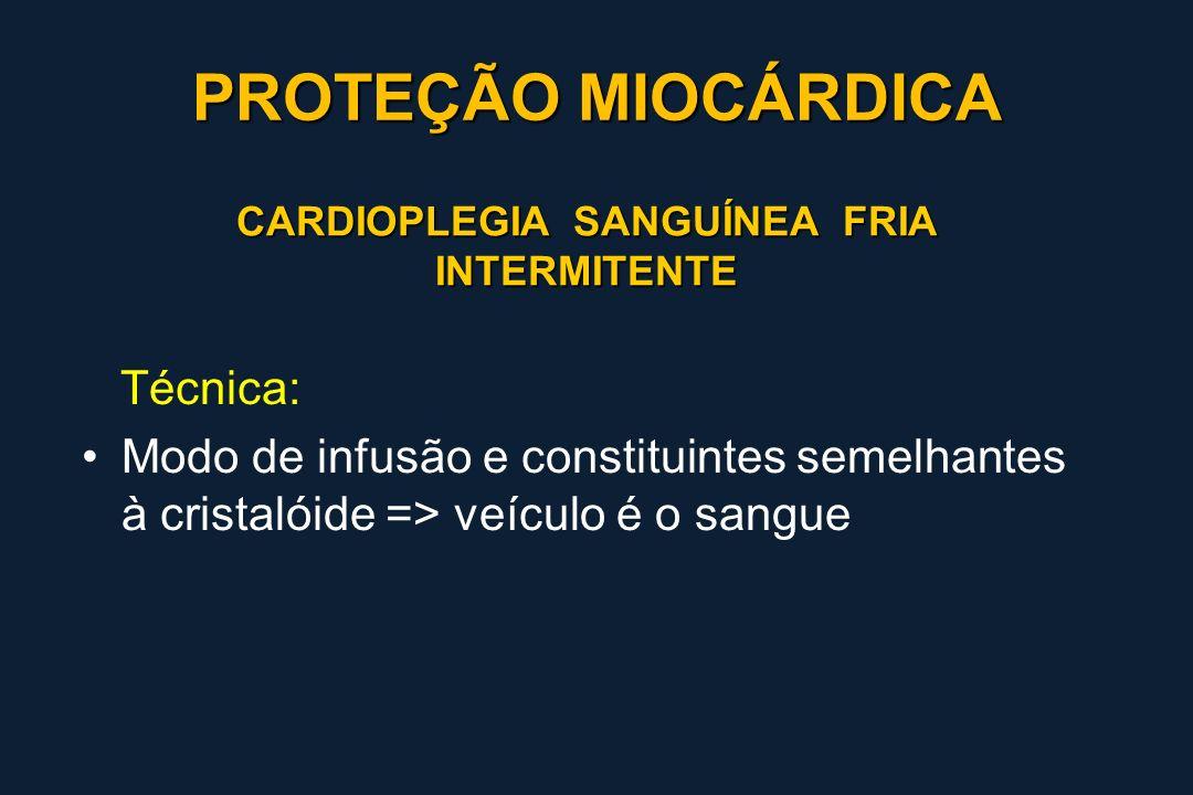 CARDIOPLEGIA SANGUÍNEA FRIA INTERMITENTE