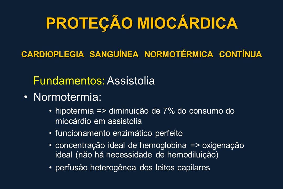 PROTEÇÃO MIOCÁRDICA Fundamentos: Assistolia Normotermia: