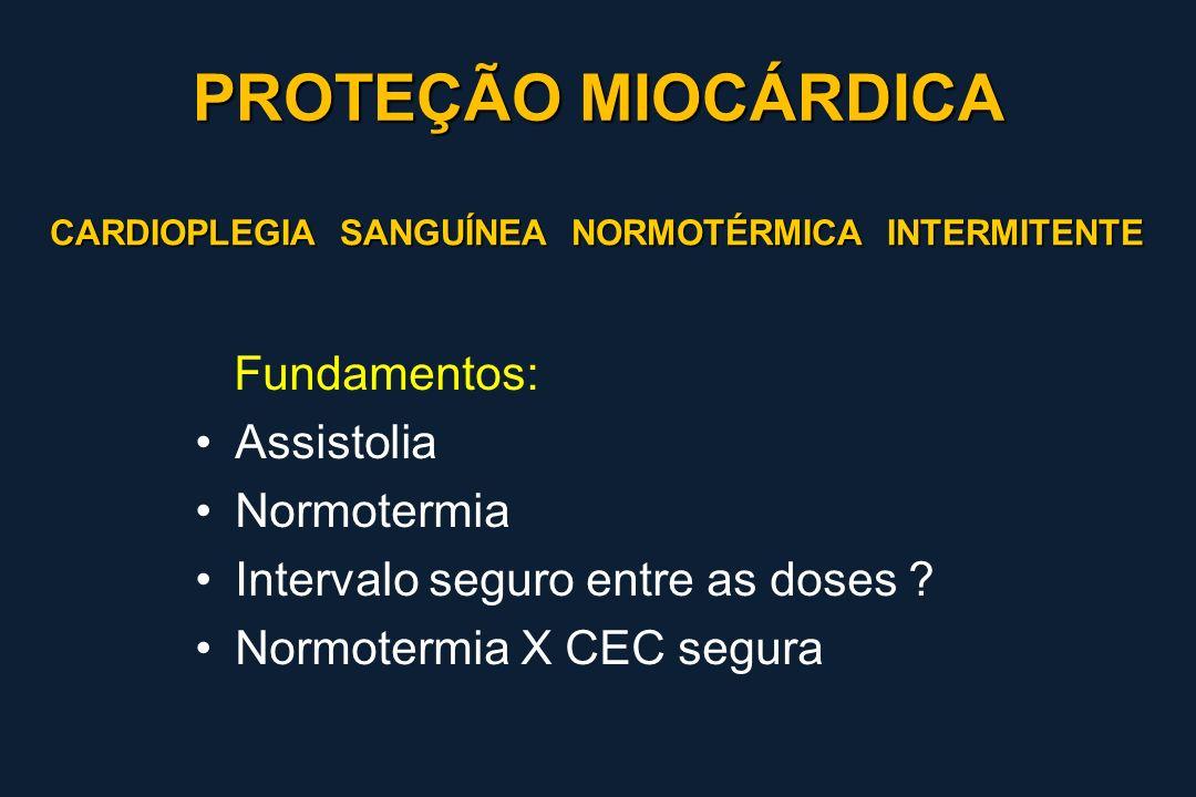 PROTEÇÃO MIOCÁRDICA Fundamentos: Assistolia Normotermia