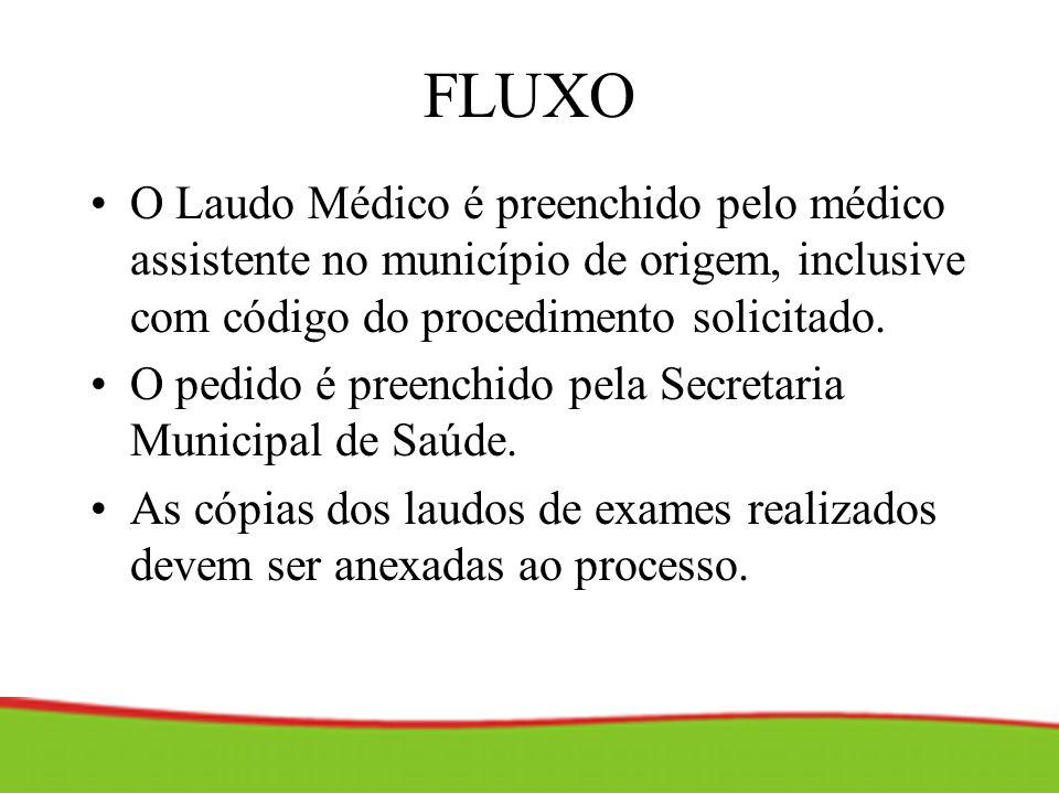 FLUXOO Laudo Médico é preenchido pelo médico assistente no município de origem, inclusive com código do procedimento solicitado.
