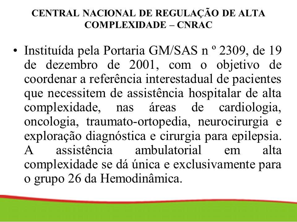 CENTRAL NACIONAL DE REGULAÇÃO DE ALTA COMPLEXIDADE – CNRAC