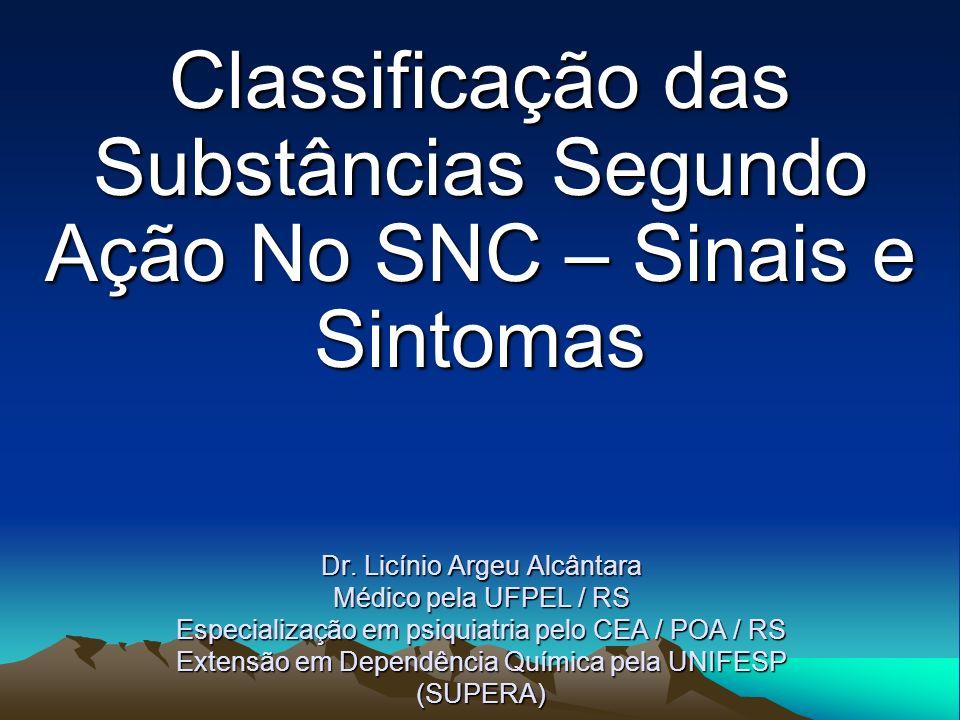 Classificação das Substâncias Segundo Ação No SNC – Sinais e Sintomas