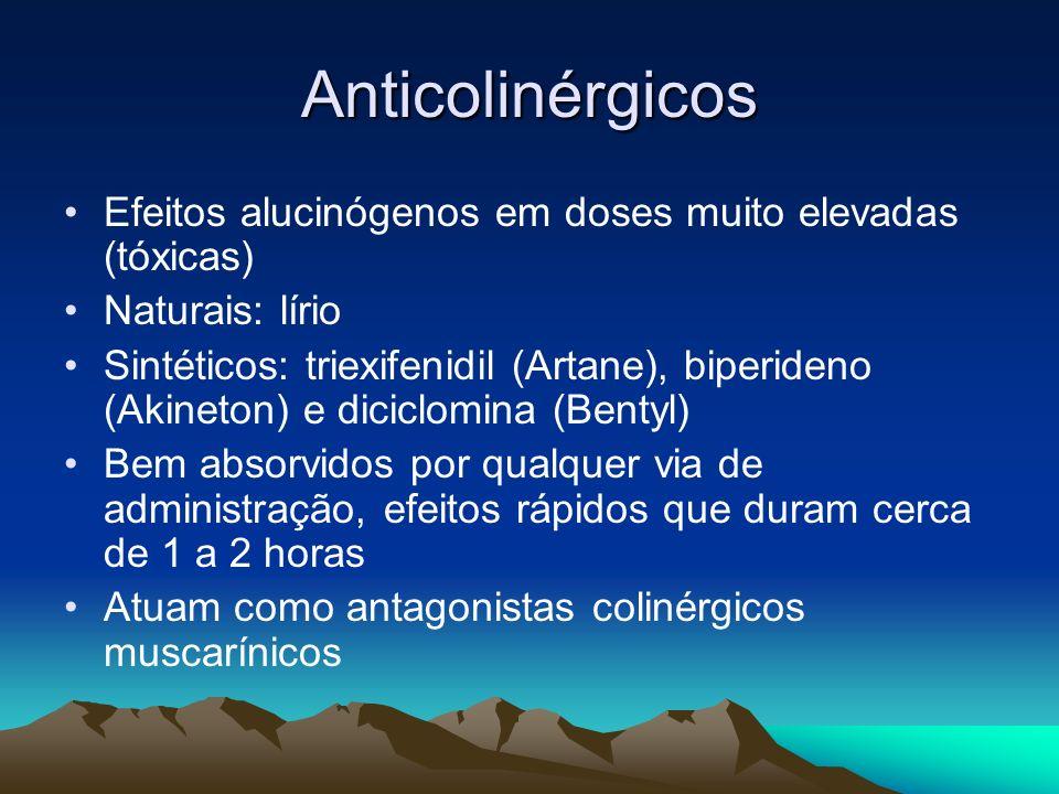 Anticolinérgicos Efeitos alucinógenos em doses muito elevadas (tóxicas) Naturais: lírio.